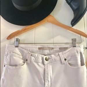 Max jeans cream ankle zip cropped skinnies